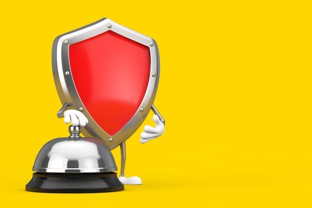 Mascote de personagem de escudo de proteção de metal vermelho com chamada de campainha de serviço de hotel em um fundo amarelo. renderização 3d