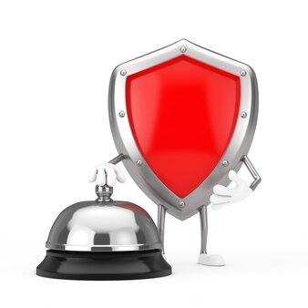 Mascote de personagem de escudo de proteção de metal vermelho com chamada de campainha de serviço de hotel em um fundo branco. renderização 3d