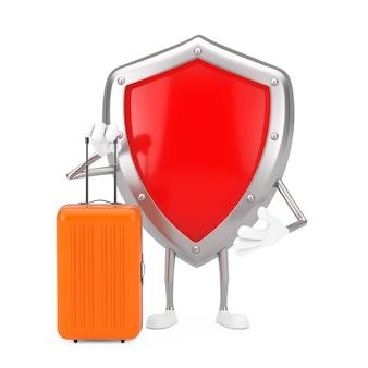 Mascote de personagem de escudo de proteção de metal vermelho com mala de viagem laranja em um fundo branco. renderização 3d