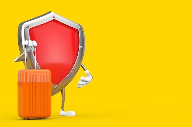 Mascote de personagem de escudo de proteção de metal vermelho com mala de viagem laranja sobre um fundo amarelo. renderização 3d
