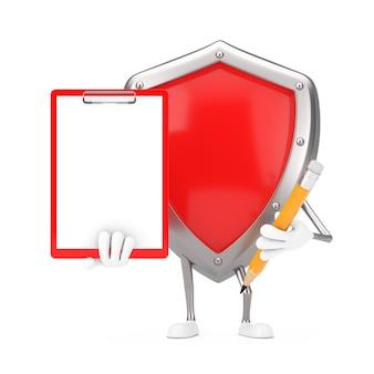 Mascote de personagem de escudo de proteção de metal vermelho com prancheta de plástico vermelho, papel e lápis em um fundo branco. renderização 3d