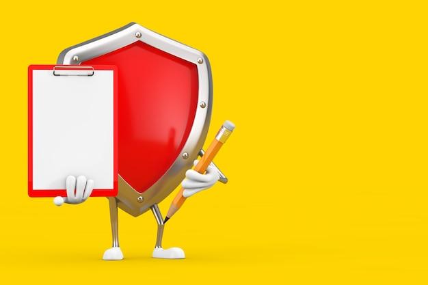 Mascote de personagem de escudo de proteção de metal vermelho com prancheta de plástico vermelho, papel e lápis sobre um fundo amarelo. renderização 3d