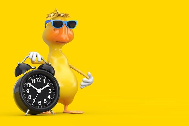 Mascote de personagem de pato bonito dos desenhos animados amarelos com despertador em um fundo amarelo. renderização 3d