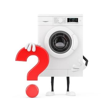 Mascote de personagem de pessoa de máquina de lavar roupa branca moderna com sinal de ponto de interrogação vermelho sobre um fundo branco. renderização 3d