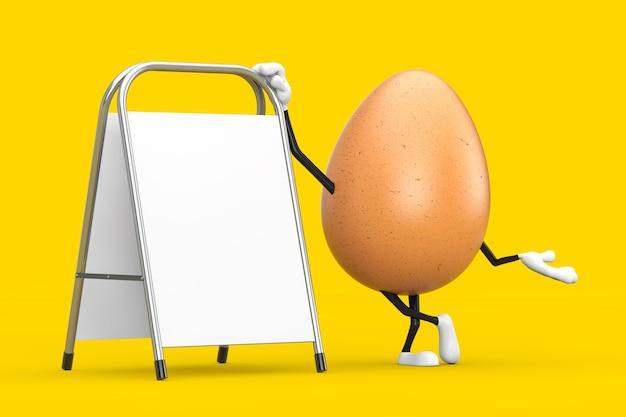 Mascote de personagem de pessoa de ovo de galinha marrom com carrinho de promoção de publicidade em branco branco sobre um fundo amarelo. renderização 3d