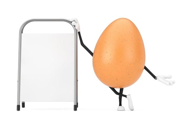 Mascote de personagem de pessoa de ovo de galinha marrom com carrinho de promoção de publicidade em branco branco sobre um fundo branco. renderização 3d
