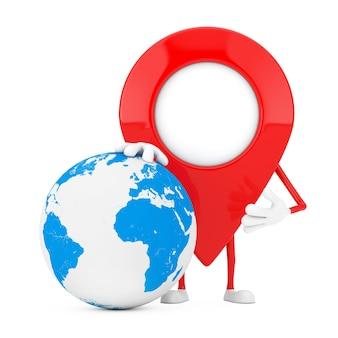 Mascote de personagem de pin de ponteiro de mapa com globo terrestre em um fundo branco. renderização 3d