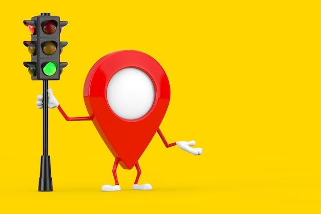 Mascote de personagem de pin de ponteiro de mapa com semáforo verde sobre um fundo amarelo. renderização 3d
