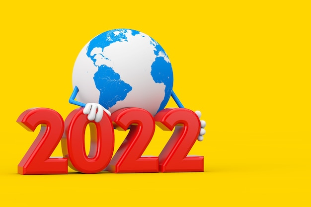 Mascote de personagem globo terrestre com sinal de ano novo de 2022 em um fundo amarelo. renderização 3d