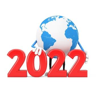 Mascote de personagem globo terrestre com sinal de ano novo de 2022 em um fundo branco. renderização 3d
