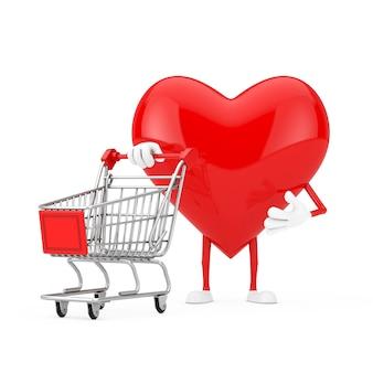 Mascote do caráter do coração vermelho com carrinho do carrinho de compras em um fundo branco. renderização 3d
