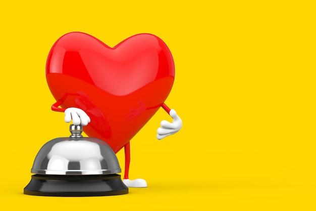 Mascote do caráter do coração vermelho com chamada da bell de serviço do hotel em um fundo branco. renderização 3d