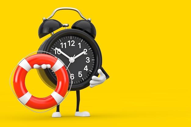 Mascote do personagem do despertador com bóia salva-vidas em um fundo amarelo. renderização 3d