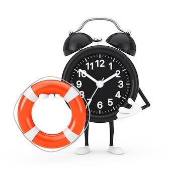 Mascote do personagem do despertador com bóia salva-vidas em um fundo branco. renderização 3d