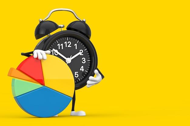Mascote do personagem do despertador com gráfico de pizza de negócios de gráficos de informação em um fundo branco. renderização 3d