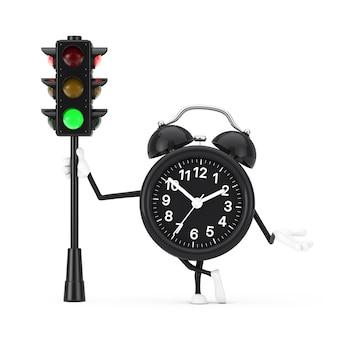 Mascote do personagem do despertador com semáforo verde sobre um fundo branco. renderização 3d