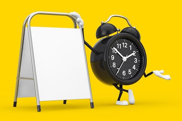 Mascote do personagem do despertador com suporte de promoção de publicidade em branco branco sobre um fundo amarelo. renderização 3d