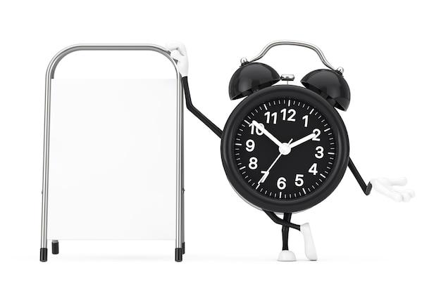 Mascote do personagem do despertador com suporte de promoção de publicidade em branco branco sobre um fundo branco. renderização 3d