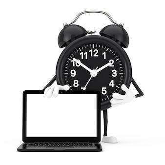 Mascote do personagem do despertador e moderno laptop com tela em branco para seu projeto em um fundo branco. renderização 3d