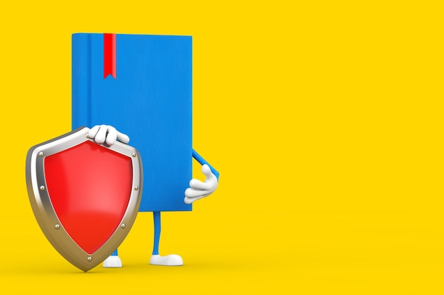 Mascote do personagem do livro azul com escudo de proteção do metal vermelho sobre um fundo amarelo. renderização 3d
