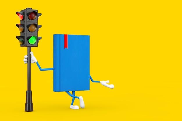Mascote do personagem do livro azul com luz verde do tráfego em um fundo amarelo. renderização 3d