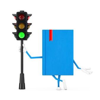 Mascote do personagem do livro azul com luz verde do tráfego em um fundo branco. renderização 3d