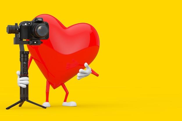 Mascote vermelho do caráter do coração com dslr ou sistema de tripé de estabilização do cardan da câmera de vídeo em um fundo amarelo. renderização 3d
