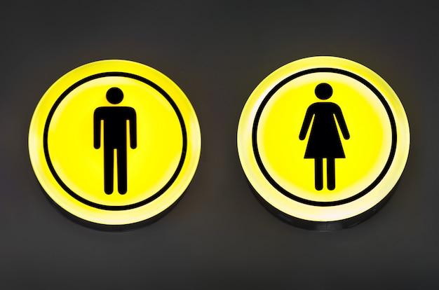 Masculino, banheiro feminino, sinal de banheiro. conceito de igualdade de homem e mulher.