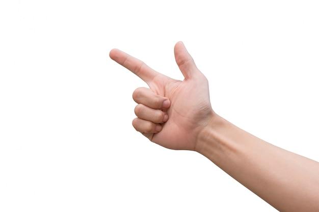 Masculino mão apontando.