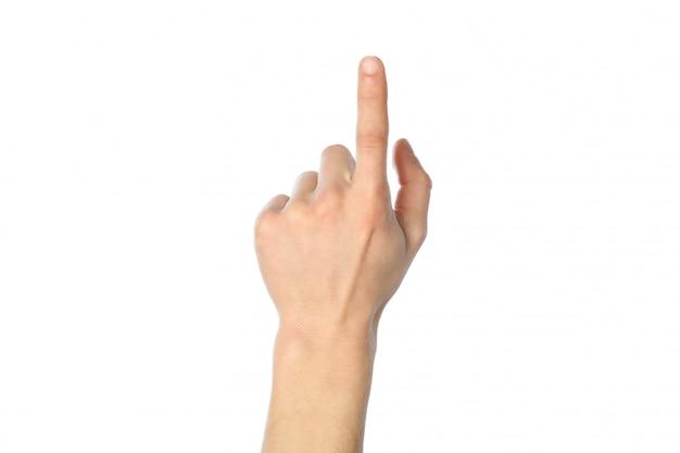 Masculino mão isolada na superfície branca.
