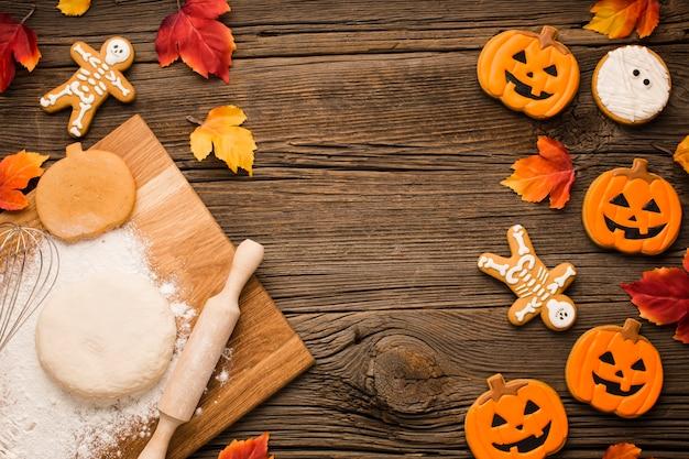 Massa e biscoitos de festa de halloween