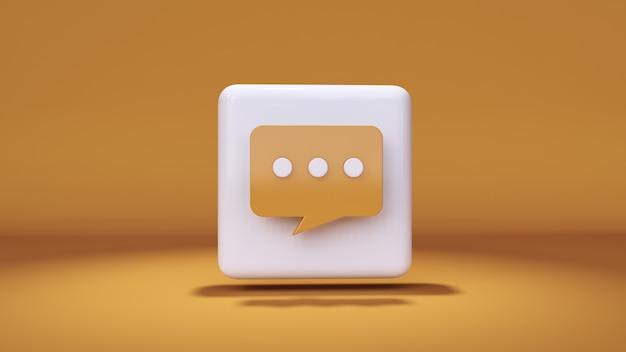 Massagem de ícones renderização em 3d em fundo amarelo e destaques