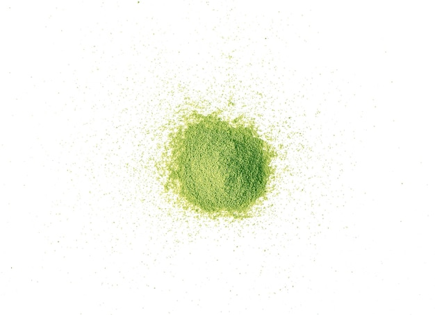 Matcha chá verde em pó vista superior