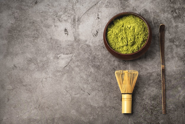 Matcha japonês chá verde em pó.