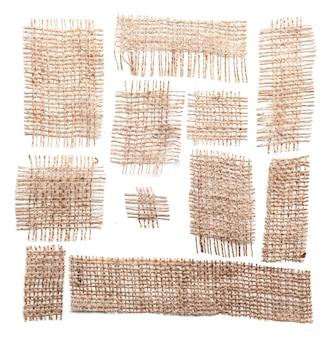 Materiais de pano de saco isolados no branco