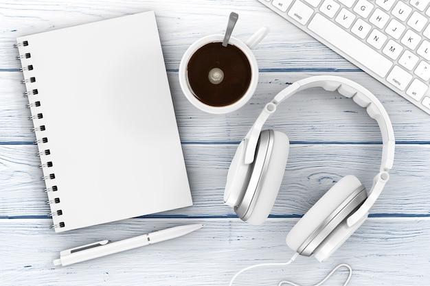 Material de escritório. vista superior do caderno aberto, caneta, teclado, fones de ouvido e uma xícara de café em uma mesa de madeira. renderização 3d.