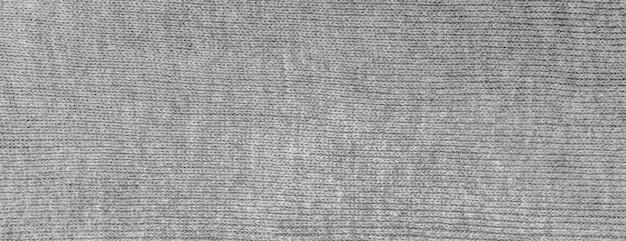 Material de tecido de algodão cinza com textura panorâmica