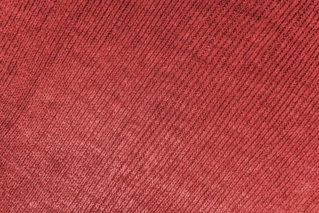 Material de tecido de algodão vermelho com textura