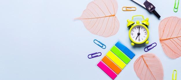 Material escolar e folhas de laranja