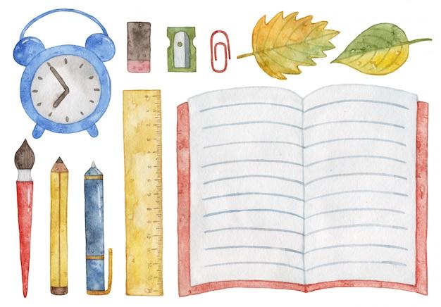 Material escolar em aquarela. caderno, despertador, caneta, lápis, pincel.