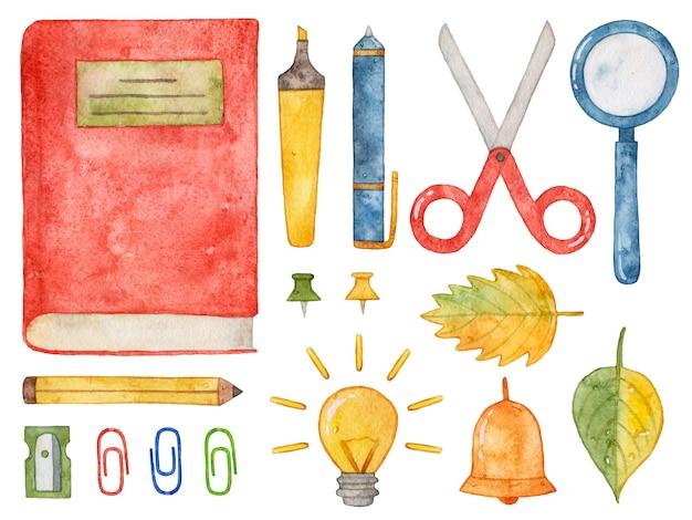 Material escolar em aquarela. livro, caneta, lápis, tesoura, lupa.