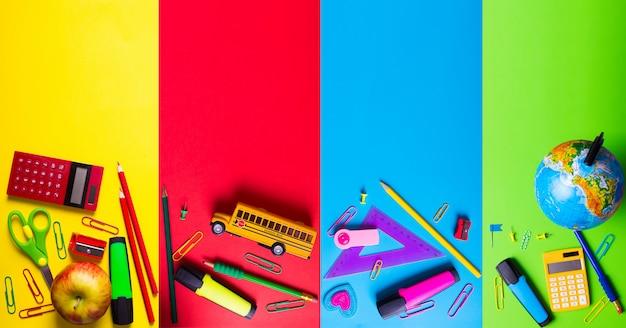 Material escolar em fundo brilhante e saturado