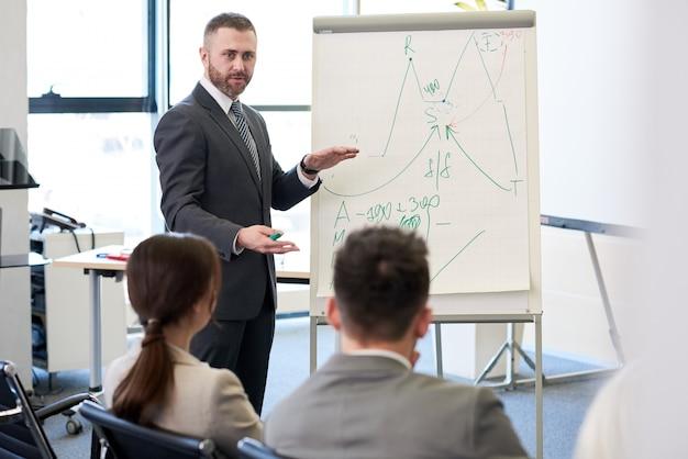 Mature business coach na whiteboard
