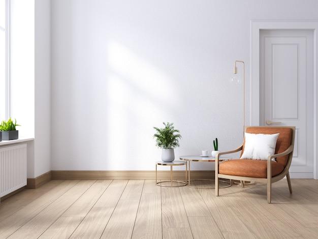Meados do século moderno e interior minimalista da sala de estar