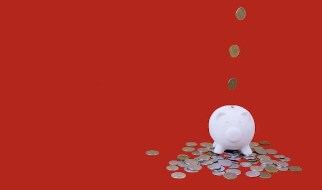 Mealheiro com dinheiro e moedas