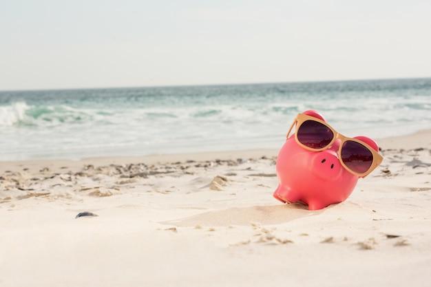 Mealheiro com óculos de sol mantido na areia