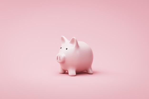 Mealheiro ou caixa de dinheiro no fundo rosa com conceito de dinheiro de poupança. caixa-de-rosa e idéia de poupança. renderização em 3d.