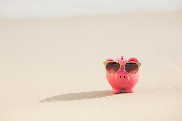 Mealheiro verão com óculos de sol na areia