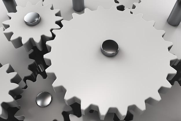 Mecanismo de engrenagem close-up. muitas engrenagens conectadas
