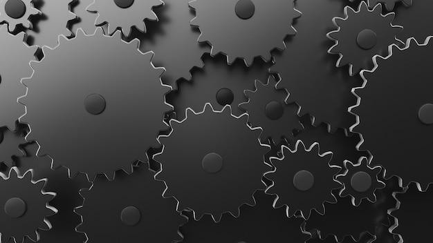 Mecanismo de engrenagem complexo em close-up. quadro completo